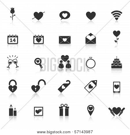 Valentine's Day Icons With Reflect On White Background