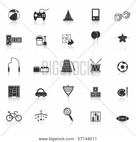 Toy Icons With Reflect On White Background