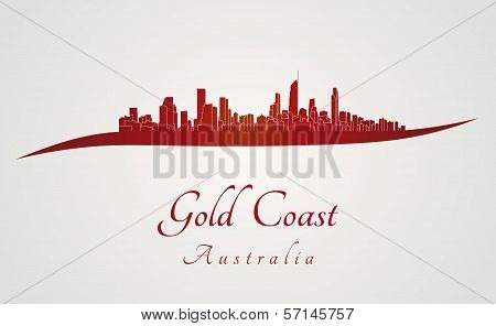 Gold Coast Skyline In Red