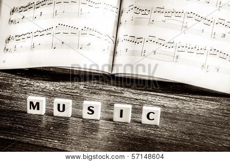 Music Notes Sheet And Letters Music
