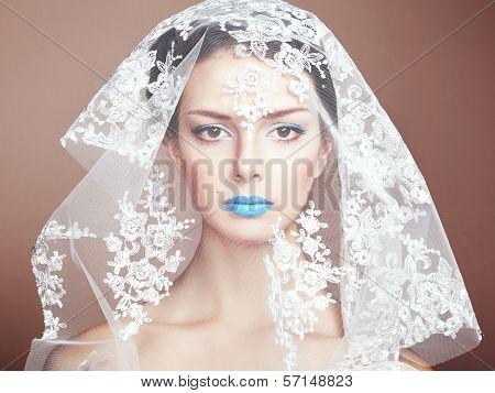 Fashion Photo Of Beautiful Women Under White Veil
