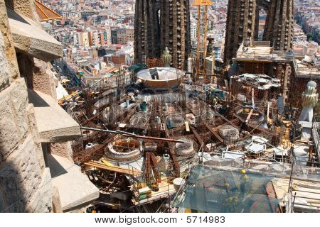 Construction Work At Sagrada Familia, Barcelona, Spain