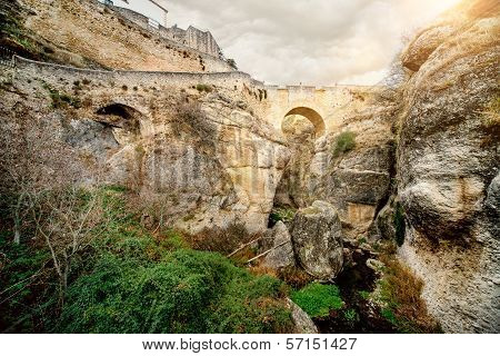 Ronda Bridge And Canyon, Spain