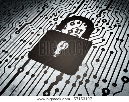 Protection concept: circuit board with Closed Padlock