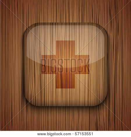 Vector wooden app icon on wooden background. Eps10