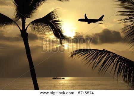 Flying Into A Big Island Sunset Hawaii