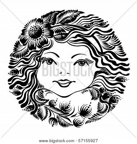 Decorative Floral Silhouette Of A Woman Face