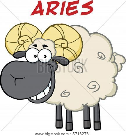 Smiling Black Head Ram Sheep Under Text Aries