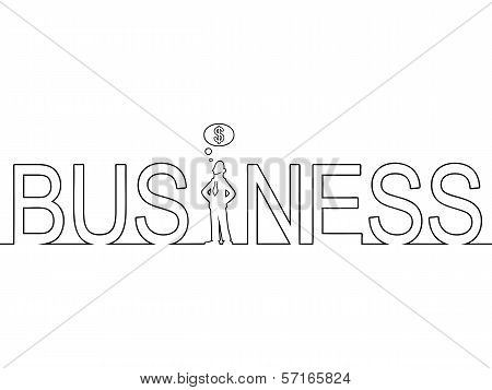 The word BUSINESS with a man standing in it
