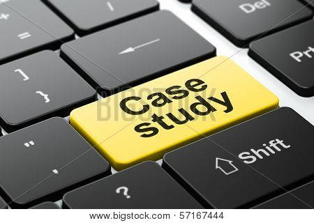 Education concept: Case Study on computer keyboard background