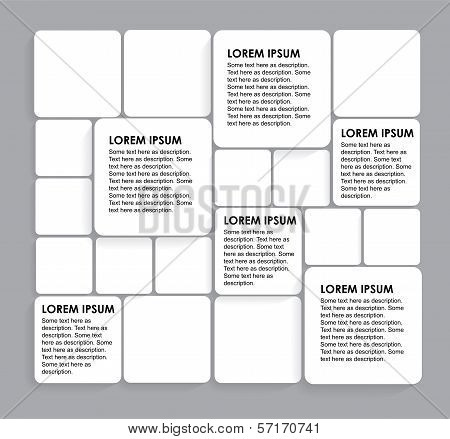 Rounded Squares Of White Paper On Grey - Vector Infographic Banners