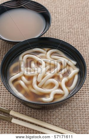 Udon Noodles And Miso Soup