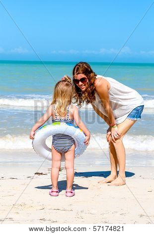 Mom Daughter Beach Fun