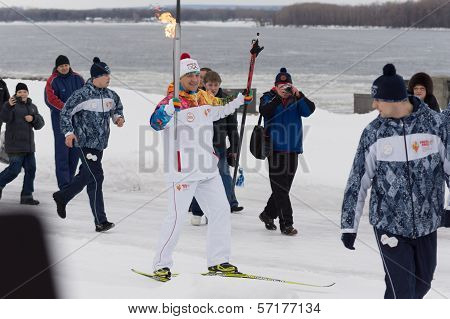 Samara, Russia - December 25: Torch In Samara On December 25, 2013 In Samara, Russia.