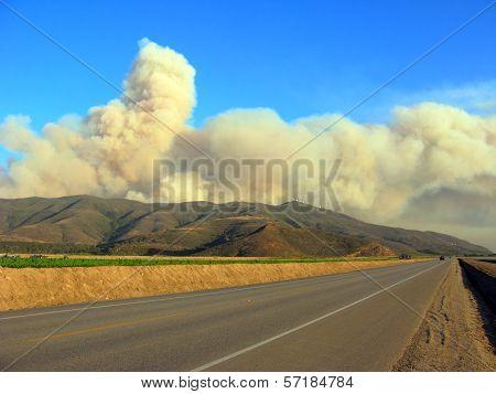 Massive Plumes Of Brush Fire Smoke