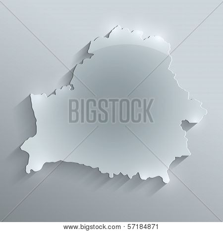 Belarus map glass card paper 3D raster blank