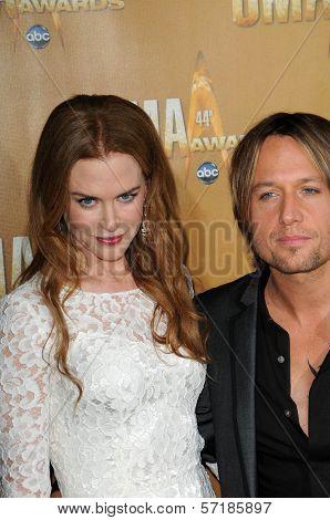 Nicole Kidman and Keith Urban at the 44th Annual CMA Awards, Bridgestone Arena, Nashville, TN.  11-10-10