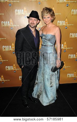 Kristian Bush and Jennifer Nettles at the 44th Annual CMA Awards, Bridgestone Arena, Nashville, TN.  11-10-10