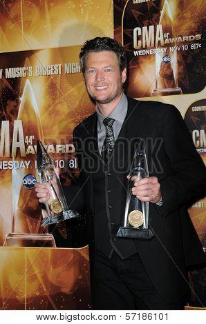 Blake Shelton at the 44th Annual CMA Awards, Bridgestone Arena, Nashville, TN.  11-10-10
