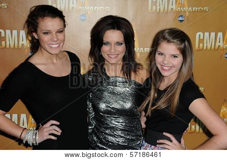 Martina McBride and Daughters at the 44th Annual CMA Awards, Bridgestone Arena, Nashville, TN.  11-10-10