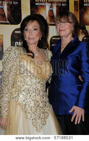 Loretta Lynn, Sissy Spacek at the 44th Annual CMA Awards, Bridgestone Arena, Nashville, TN.  11-10-10