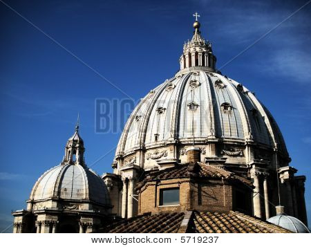Close view on Cupola of Saint Peter's Cathedral Against Clear Blue Sky