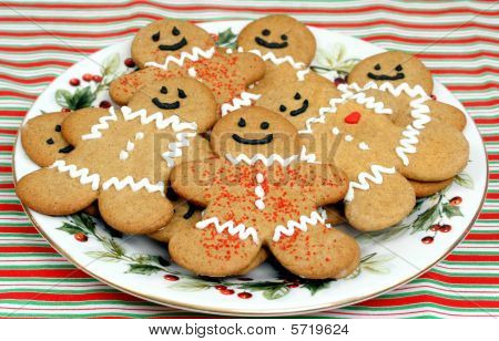 Festive plate of Happy Gingerbread Men Cookies