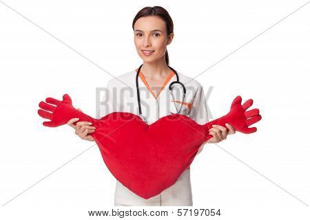 Medicine Student Holding A Big Heart