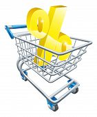stock photo of trolley  - Percentage trolley concept of percent sign in a supermarket shopping cart or trolley shopping for best APR or mortgage rate or loan etc - JPG