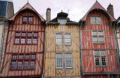 stock photo of tenement  - tenement house in old town of Troyes France - JPG