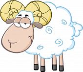 image of ram  - Cute Ram Sheep Cartoon Mascot Character - JPG