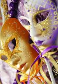 image of venice carnival  - Venetian carnival masks Venice Italy in purple and orange colors - JPG