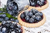 pic of tarts  - Homemade Blueberry Tart on vintage wooden background - JPG