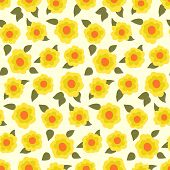 image of daffodils  - Ditsy floral pattern with small daffodils on yellow background - JPG