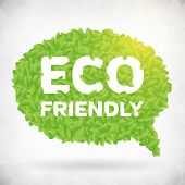 Eco Friendly Green Leaf Speech Bubble