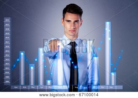 businessman pointing important period at virtual chart business on touch screen computer