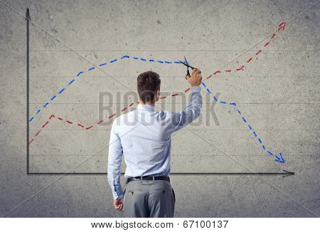 Concept budget reduction, Businessman cut finance graphic