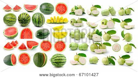 Watermelon Guava (tropical Fruit) On White Background