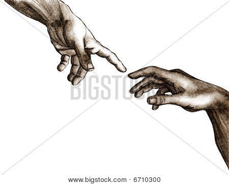 Hände Gottes und adam