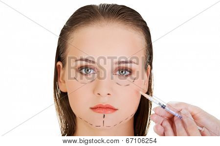 Cosmetic botox injection in the woman face
