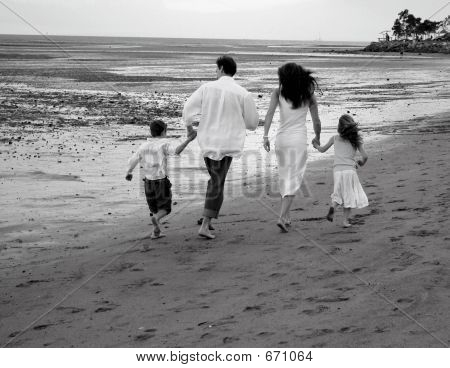 Family On Beach B  W