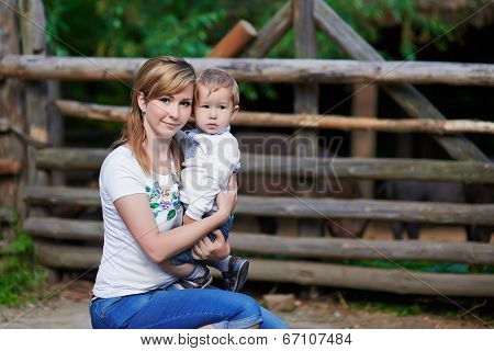 Loving mother and cute son at village