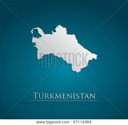 vector Turkmenistan Map card paper on blue background, high detailed