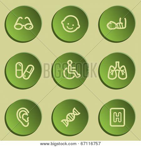 Medicine  web icon set 2, green paper stickers set
