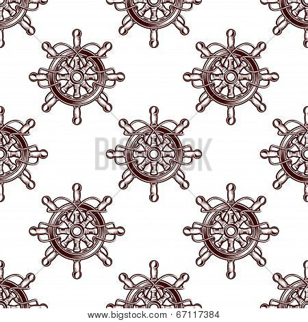 Seamless pattern of an old-fashioned ships wheel