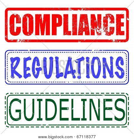 Compliance, Regulations, Guidelines Set Stamp