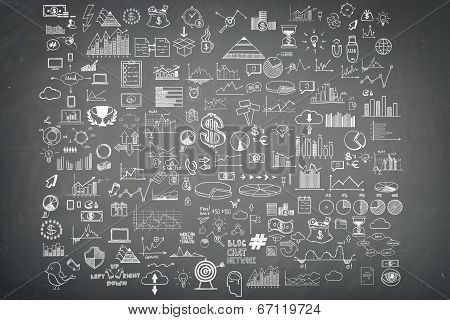 Hand draw doodle elements money and coin icon, chart grap on blackboard. Concept bank business finan