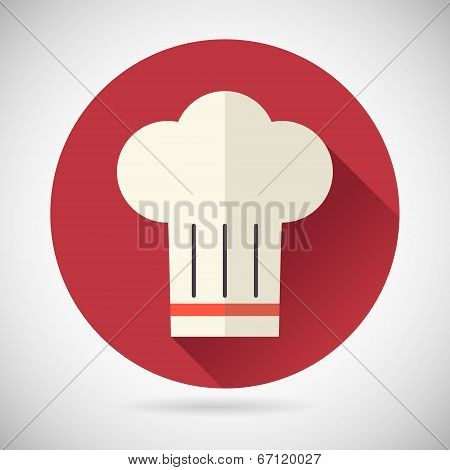 Chief Cook Symbol Toque Cuisine Food Icon on Stylish Background Modern Flat Design Vector Illustrati