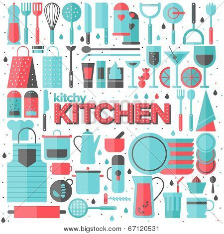 Kitchen And Cooking Utensils Flat Illustration