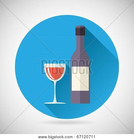 Wine Luxury Alcohol Symbol Bottle with stopper and Glass Icon on Stylish Background Modern Flat Desi